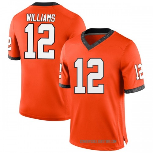 Youth Nike Kanion Williams Oklahoma State Cowboys Game Orange Football College Jersey