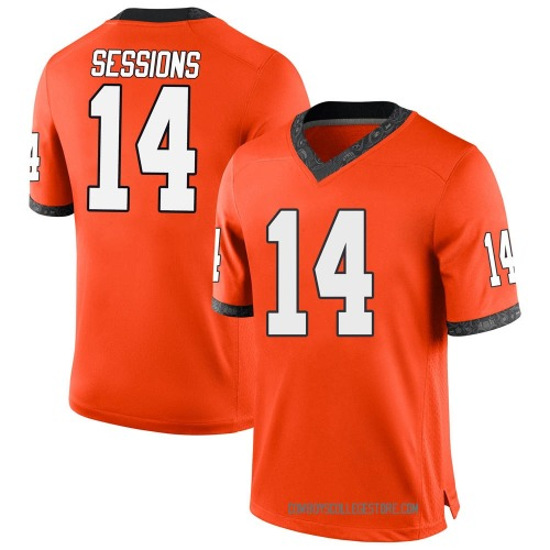 Youth Nike Nicolas Sessions Oklahoma State Cowboys Game Orange Football College Jersey
