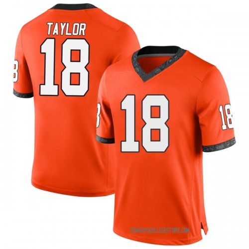 Youth Nike Shaun Taylor Oklahoma State Cowboys Replica Orange Football College Jersey