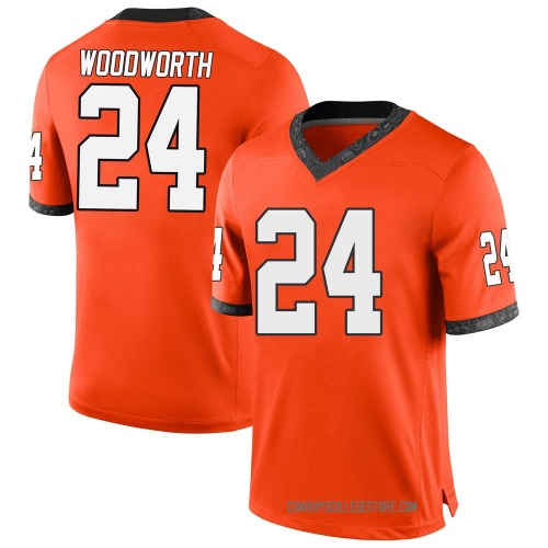 Youth Nike Tavien Woodworth Oklahoma State Cowboys Game Orange Football College Jersey