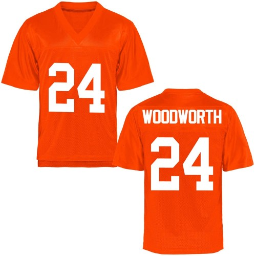 Youth Tavien Woodworth Oklahoma State Cowboys Game Orange Football College Jersey