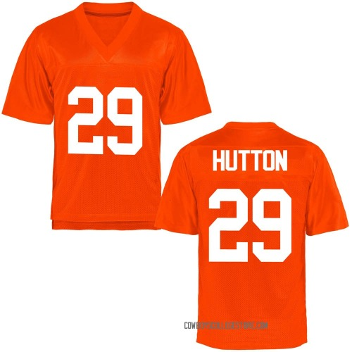 Youth Tom Hutton Oklahoma State Cowboys Game Orange Football College Jersey